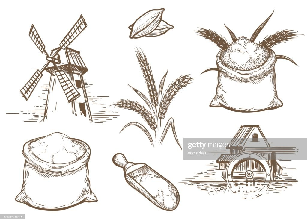 Retro sketch bakery elements