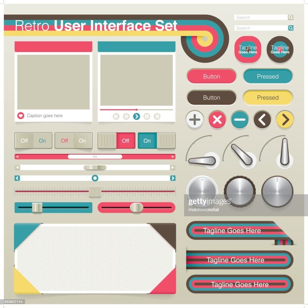 retro skeuomorphic graphical user interface set