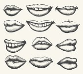 Retro smiling and kissing mouth set