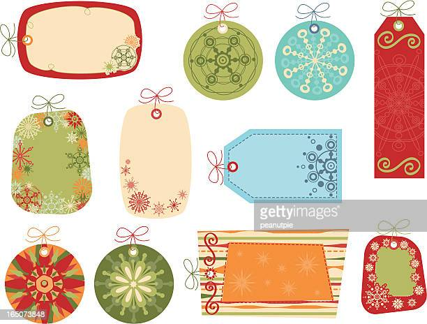 Retro Snowflake Gift Tags Collection 1