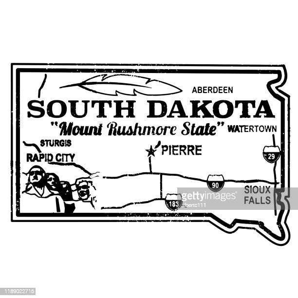 retro south dakota travel stamp - aberdeen south dakota stock illustrations