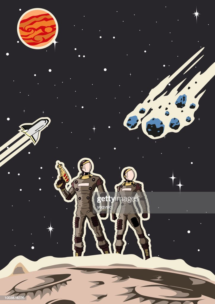 Retro Space Astronaut Couple Poster : stock illustration