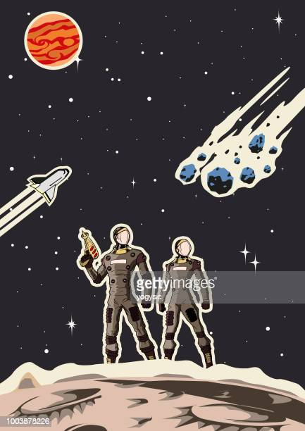 illustrazioni stock, clip art, cartoni animati e icone di tendenza di retro space astronaut couple poster - copy space