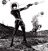 Retro Space Woman In Combat In Outer Space