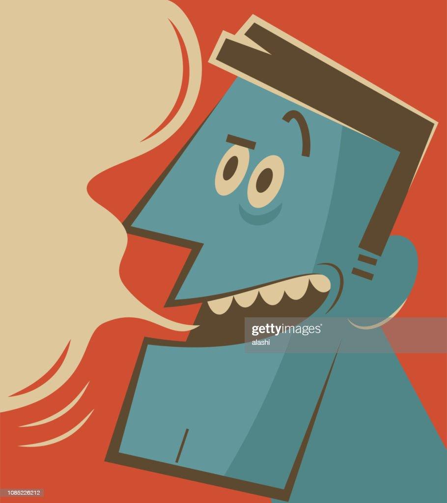 Retro spooky man whispering and slandering : stock illustration