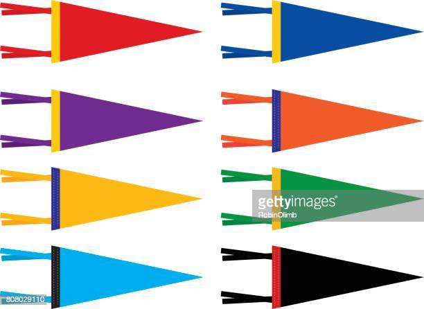 retro sports pennants - pennant stock illustrations