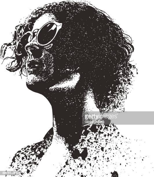 retro spray paint, graffiti portrait of a young woman wearing vintage sunglasses - stipple effect stock illustrations