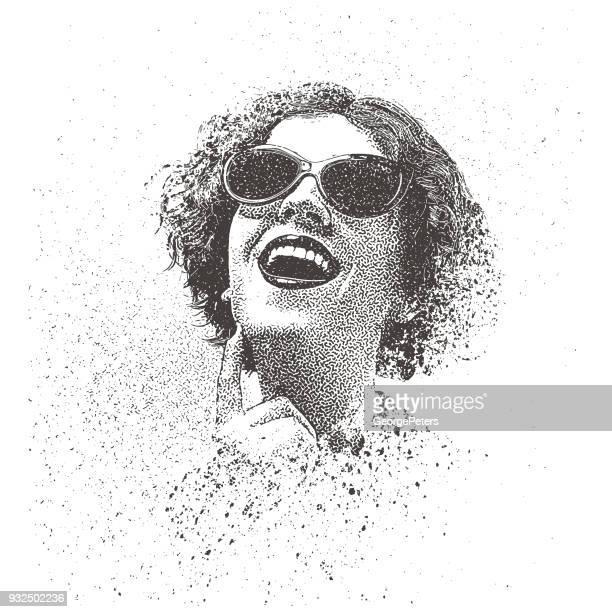 レトロなスプレー式塗料、落書きビンテージ サングラスを身に着けている若い女性の肖像