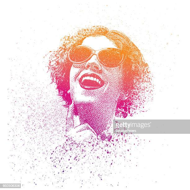 Retro spray paint, graffiti portrait of a young woman wearing vintage sunglasses
