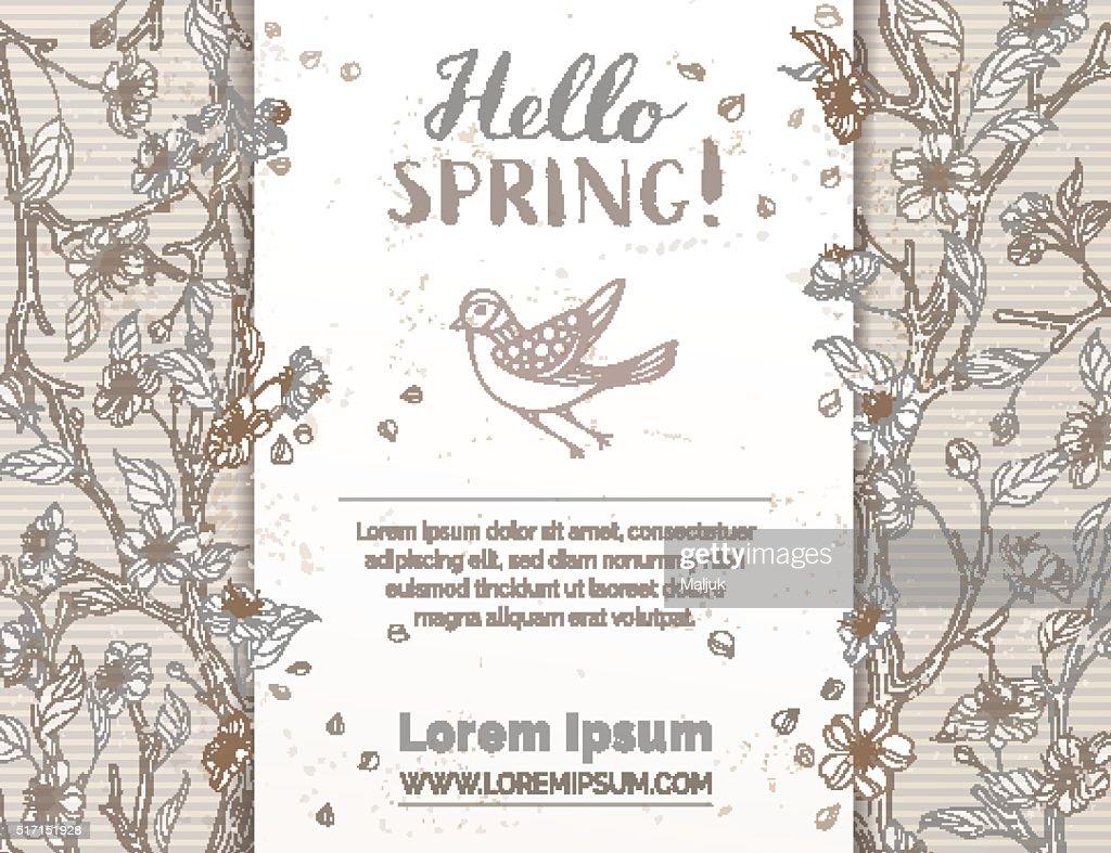 Retro spring card template.