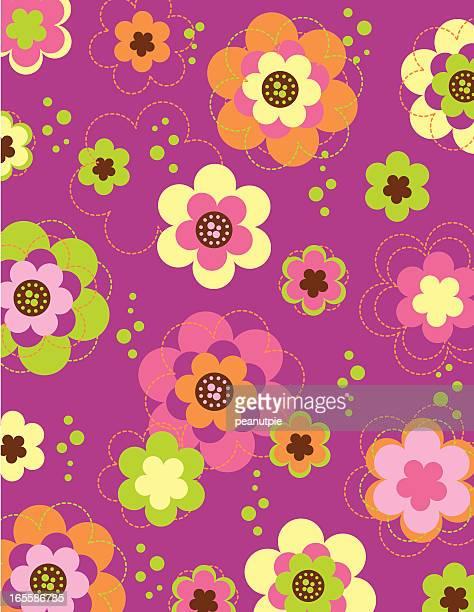 Retro padrão de Primavera Flor pensamento em desenho animado