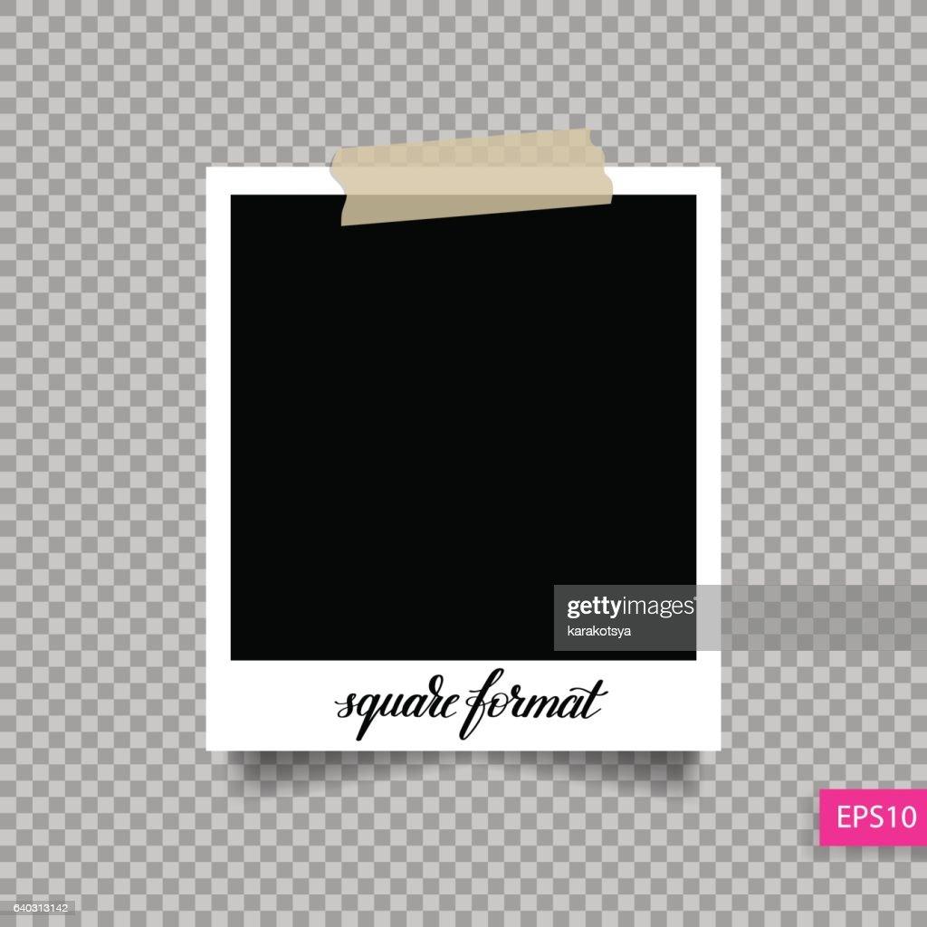 retro square polaroid photo frame template