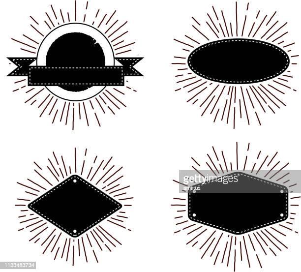 retro star burst banners - flash stock illustrations