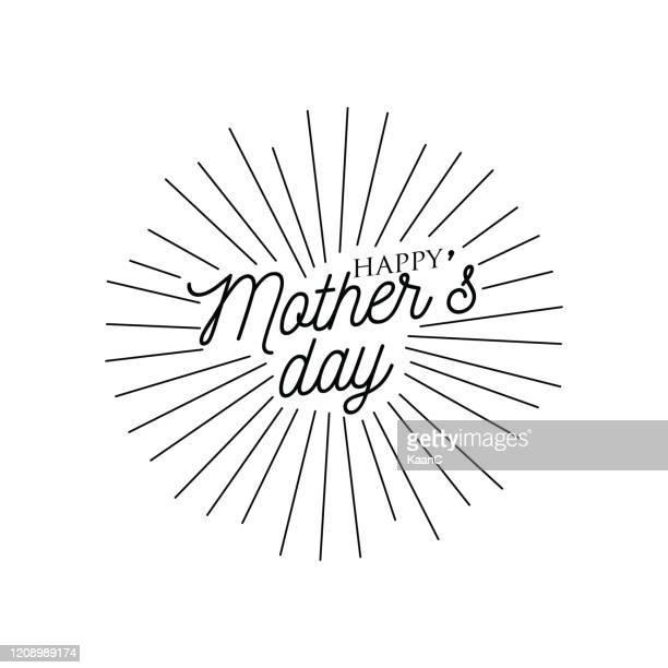 retro star burst stock illustration, mother's day lettering - mother's day stock illustrations