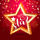 Retro Star with light bulbs on a red background with confetti. Super Star lettering. Vector illustration