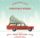 Retro Station Wagon with Tree Christmas Card