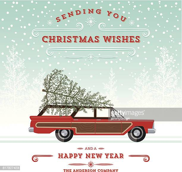 Retro 駅のワゴン、ツリークリスマスカード