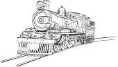 Retro Stream Locomotive Train Railway Engine Vector Illustration
