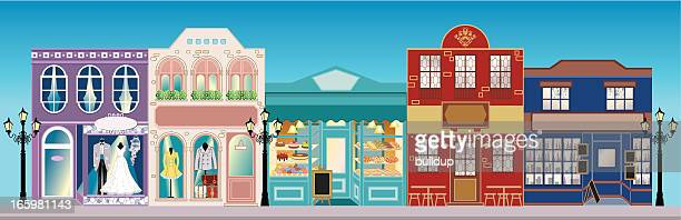 retro street shops - vintage stock stock illustrations