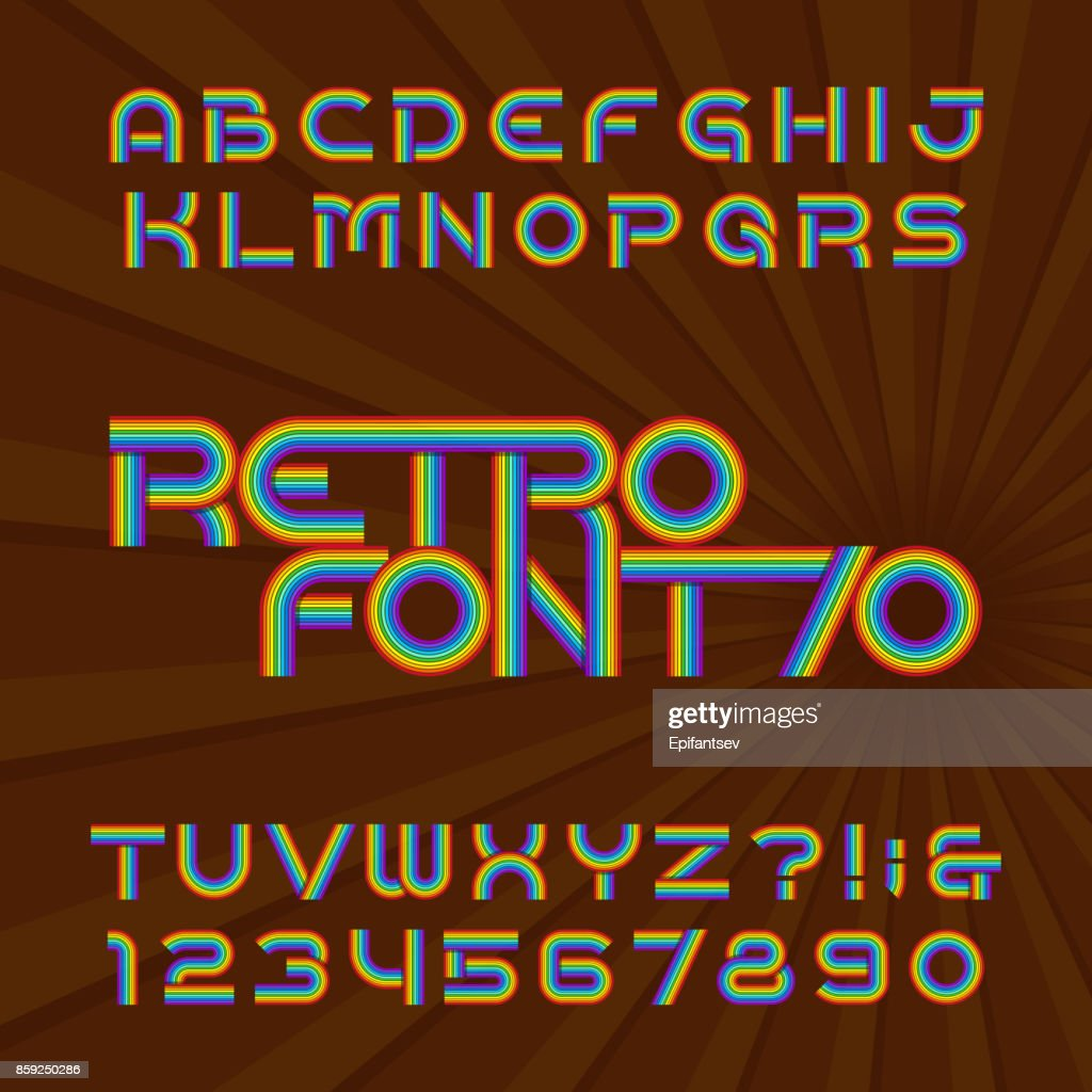 Retro stripe alphabet font. Letters and numbers in 70's style.