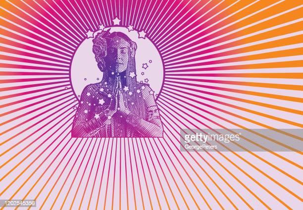 retro style 1960's hippie meditating - halo symbol stock illustrations
