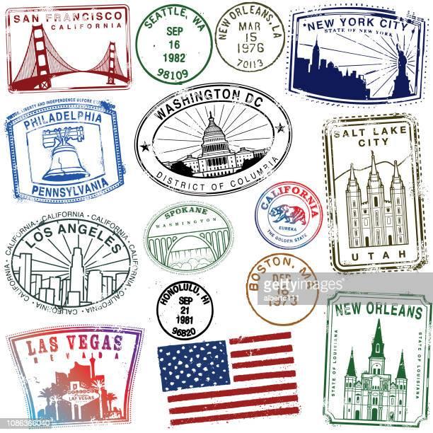 レトロなスタイルのアメリカの切手 - ニューオリンズ点のイラスト素材/クリップアート素材/マンガ素材/アイコン素材