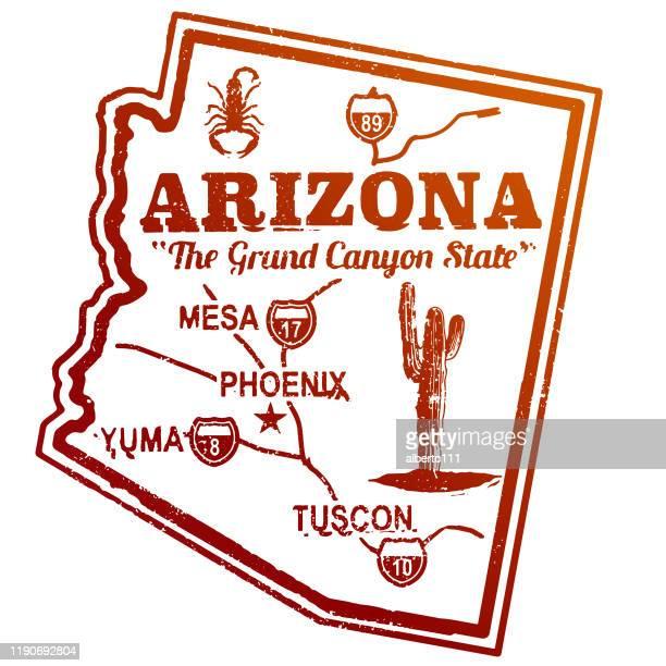 retro style arizona travel stamp - arizona stock illustrations