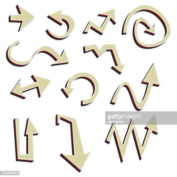 ilustraciones, imágenes clip art, dibujos animados e iconos de stock de símbolos de flechas de estilo retro - turning