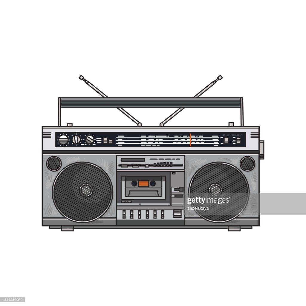 Retro style audio tape recorder, ghetto boom box from 90s