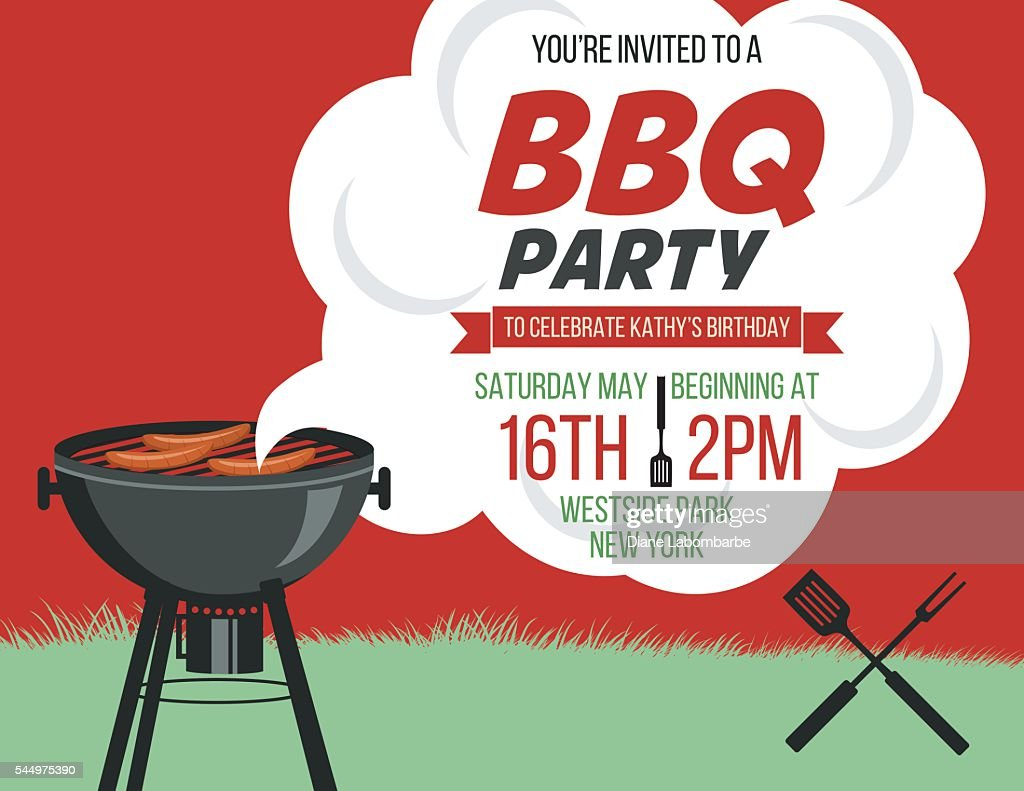 Retro Style Bbq Party Invitation Template Vector Art Getty Images