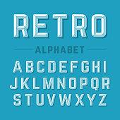 Retro style beveled alphabet