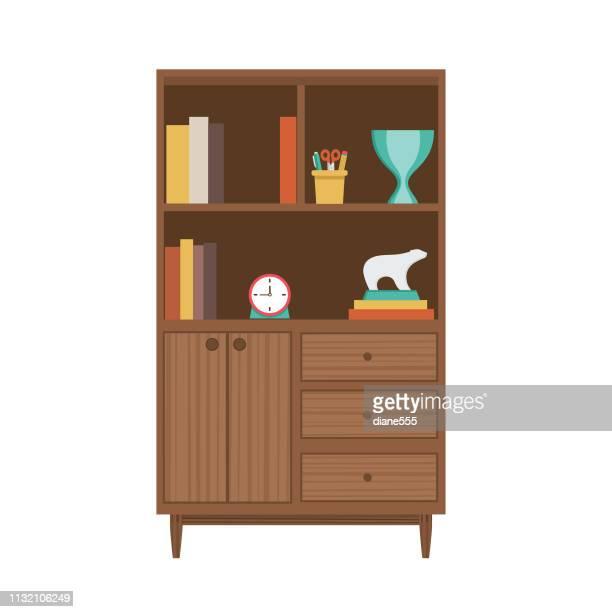 レトロスタイル本棚 - 引き出し点のイラスト素材/クリップアート素材/マンガ素材/アイコン素材