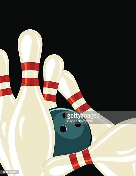 Bowling im Hintergrund im Retro-Stil