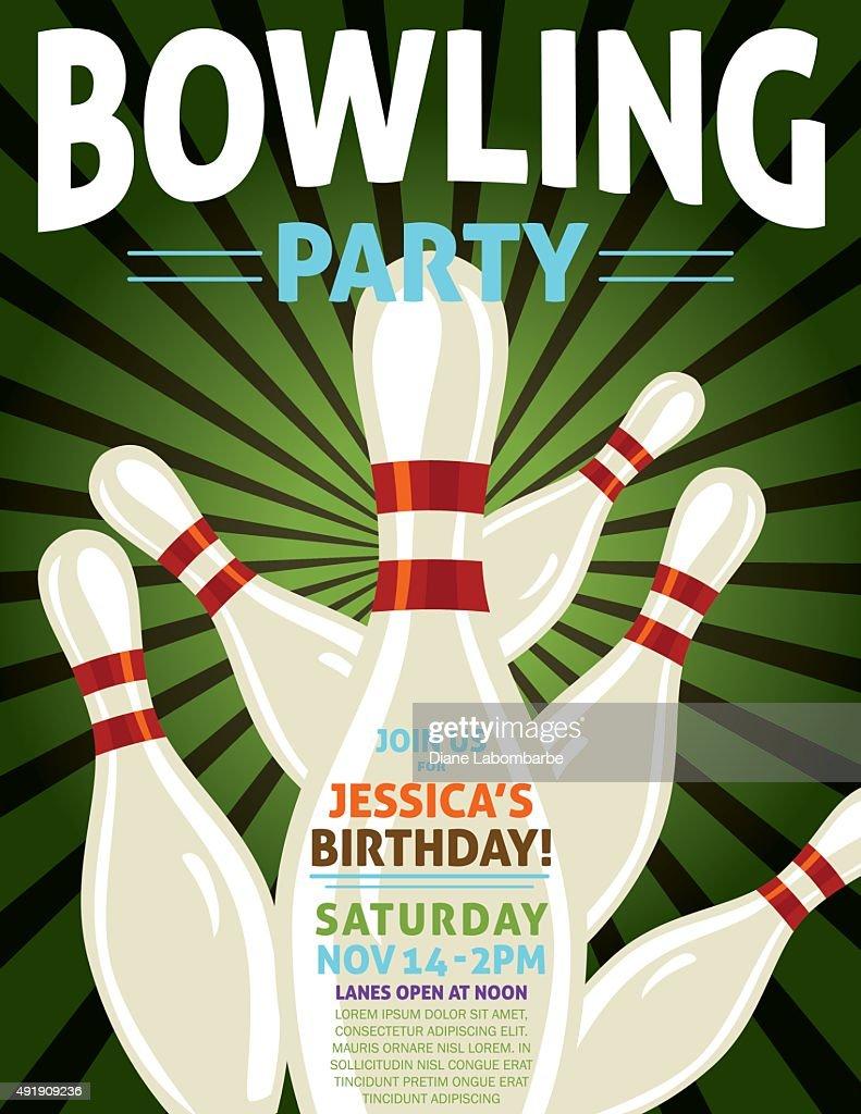 Retro style bowling birthday party invitation template vector art retro style bowling birthday party invitation template vector art filmwisefo