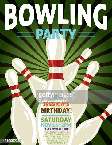 Retro Style Bowling Birthday Party Invitation Template ...