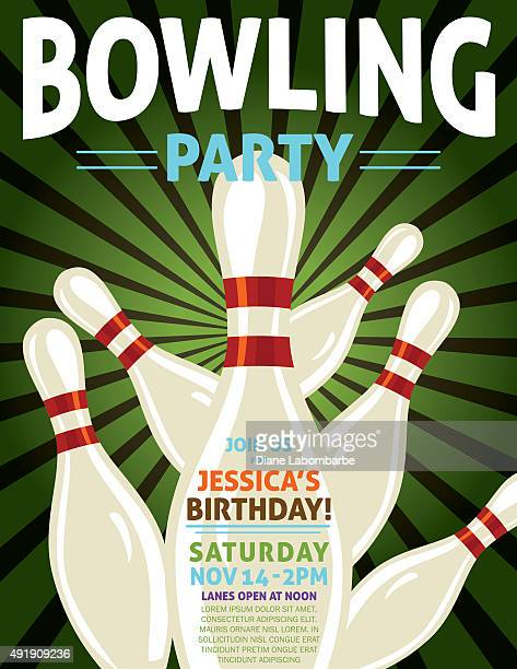 retro style bowling birthday party invitation template - bowling stock illustrations, clip art, cartoons, & icons