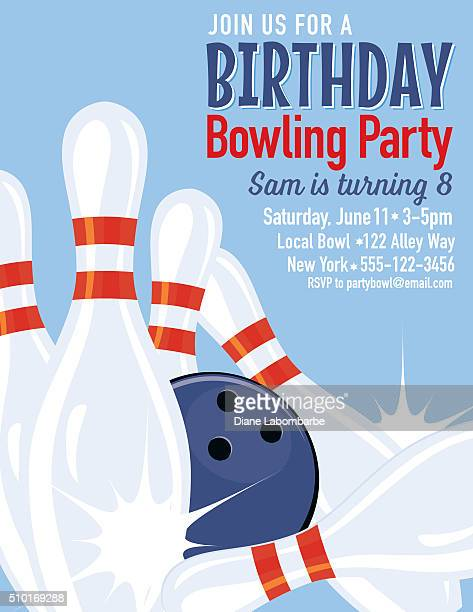 retro style bowling birthday party invitation template - bowling stock illustrations