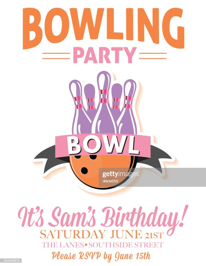 Retro Style Bowling Birthday Party Invitation Template Vector Art ...