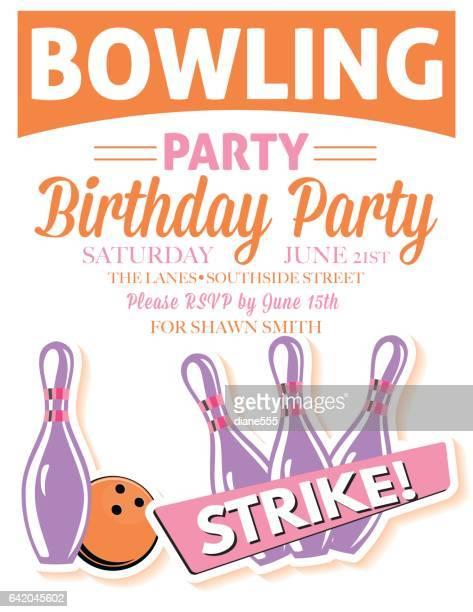 illustrazioni stock, clip art, cartoni animati e icone di tendenza di stile bowling retrò modello di invito di compleanno - palla da bowling
