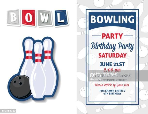 Retro-Bowling Geburtstagsparty Einladung Vorlage