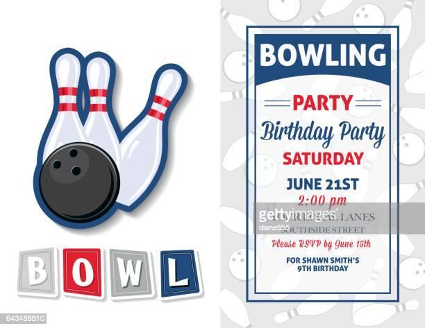 Retro stijl Bowlen Birthday Party uitnodiging sjabloon