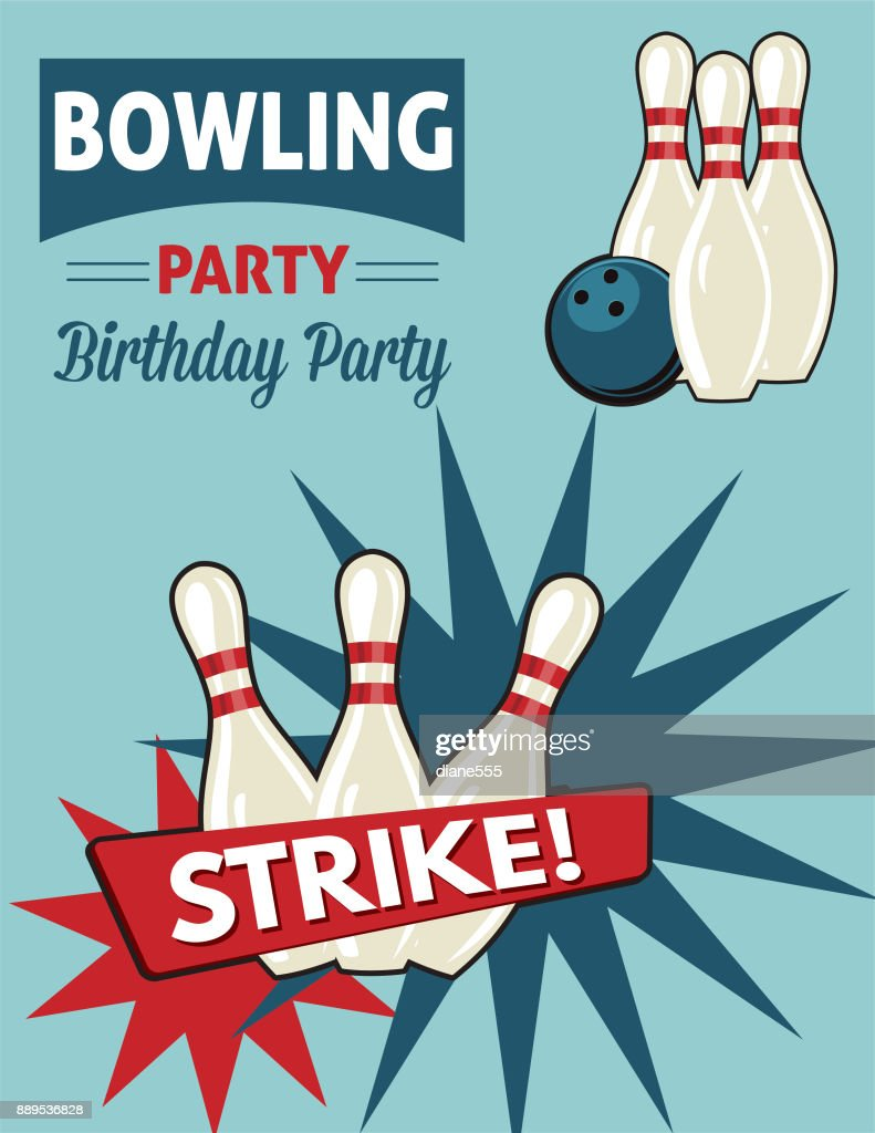 retro style bowling birthday party invitation template vector art