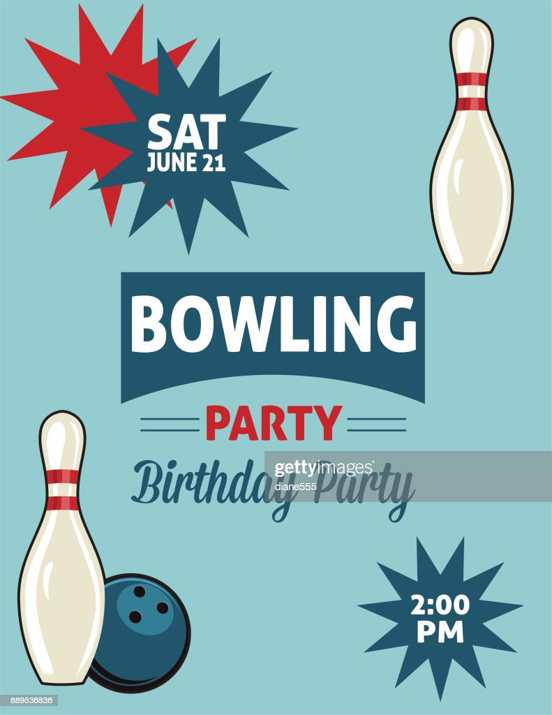Retro Style Bowling Birthday Party Invitation Template High