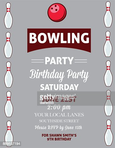 Retro style bowling birthday party invitation template vector art similar images pronofoot35fo Images