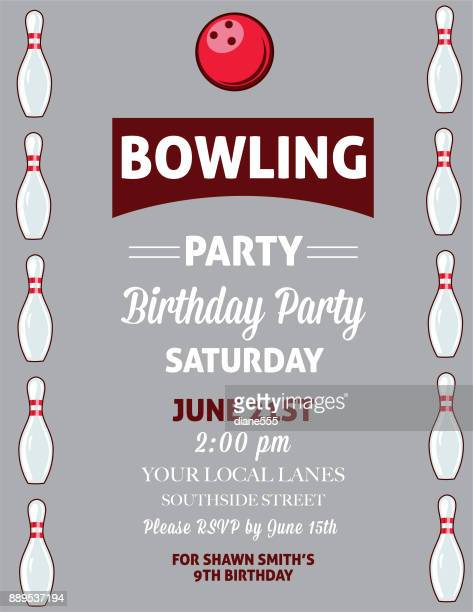 Retro Style Bowling Birthday Party Invitation Template