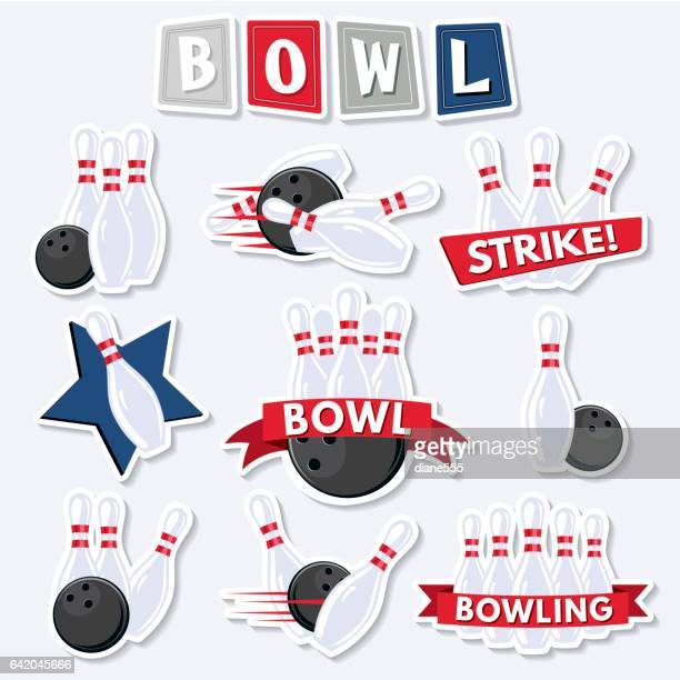 retro style bowling elements - bowling stock illustrations