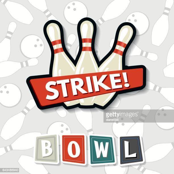 retro style bowling elements - bowling stock illustrations, clip art, cartoons, & icons