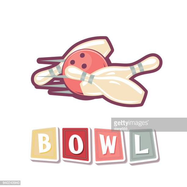 retro style bowling elements - bowling pin stock illustrations