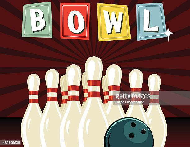 retro style bowling poster - bowling stock illustrations, clip art, cartoons, & icons