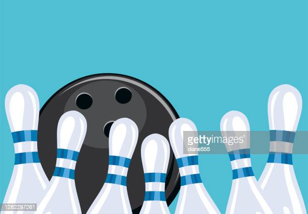 retro style bowling tournament background - bowling pin stock illustrations